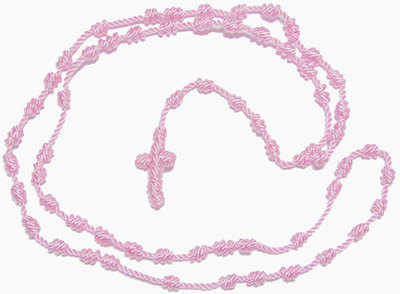 Pink knotted thread rosary beads necklace