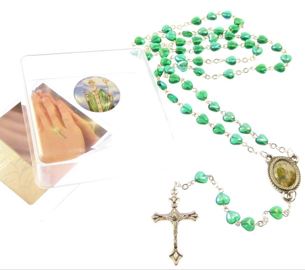 Green glass heart St. Patrick Irish rosary beads