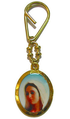 Gold colour Queen of Peace key ring