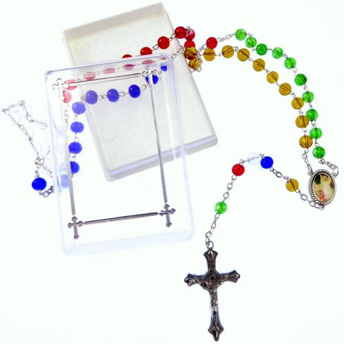 Catholic glass Missionary rosary beads necklace Guardian angel junction