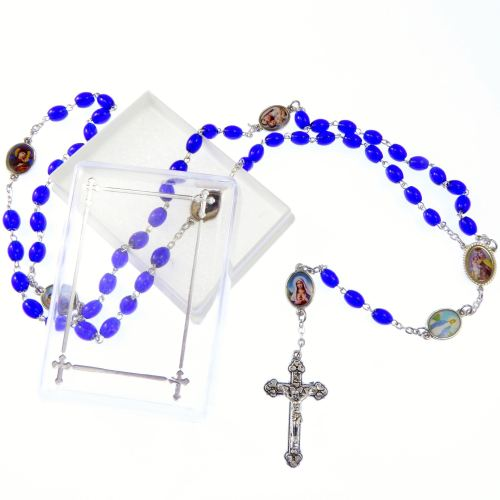 Catholic dark blue glass rosary beads necklace in box images of Our Lady pa