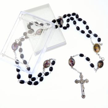 Catholic black glass rosary beads necklace in box Divine Mercy + male saints