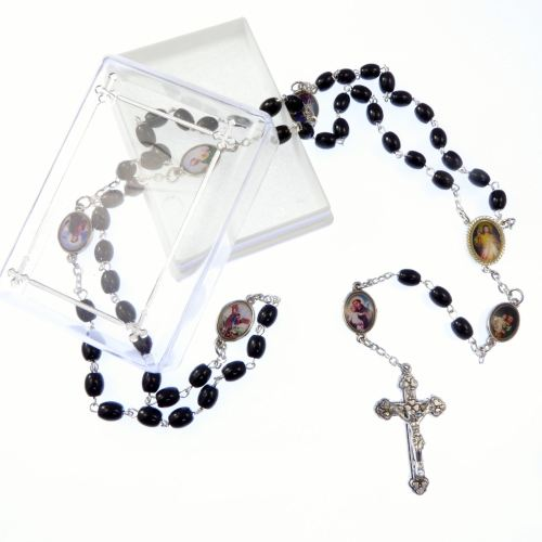 Catholic black glass rosary beads necklace in box Divine Mercy + male saint