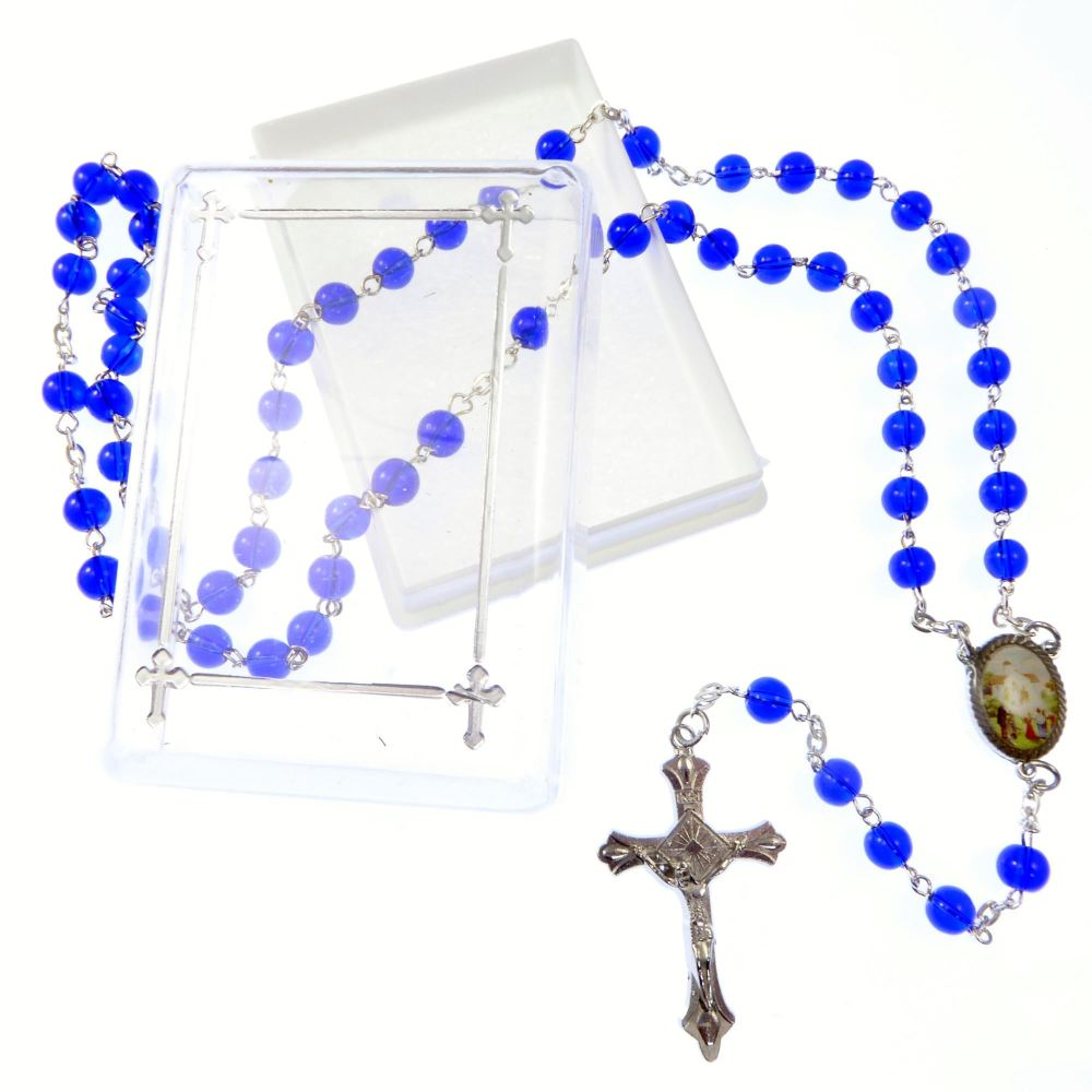 Catholic dark blue glass Our Lady of Knock rosary beads necklace in box