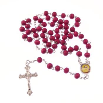 Catholic Wooden red long silver metal rosary beads necklace