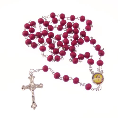Wooden red long silver metal rosary beads necklace