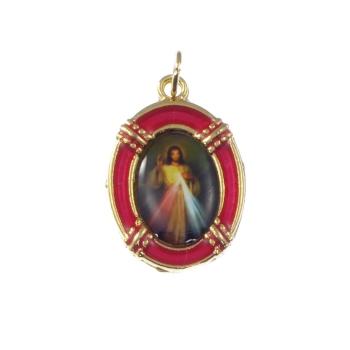 2.5cm gold red Jesus Divine Mercy medal Catholic pendant