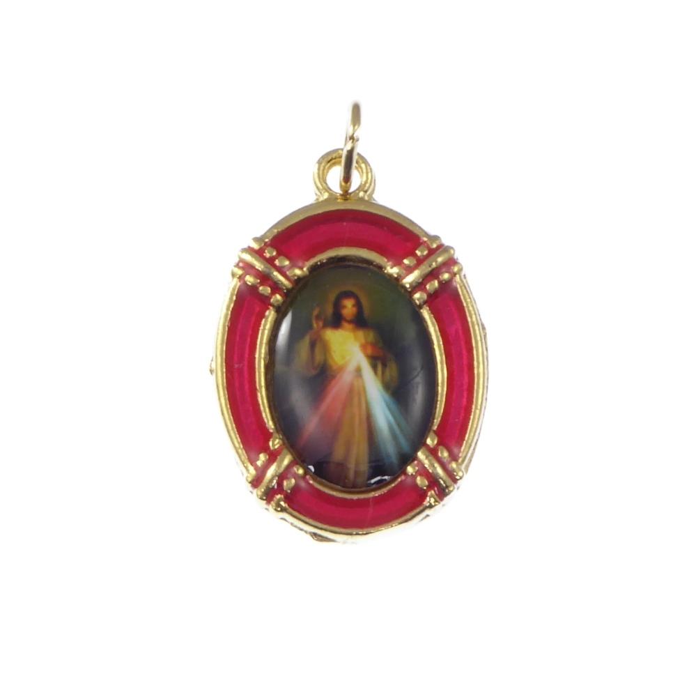 2.5cm gold red Jesus Divine Mercy medal Catholic pendant