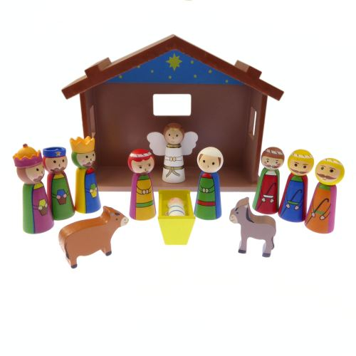 Children's Christmas Nativity scene set ornament wood shed