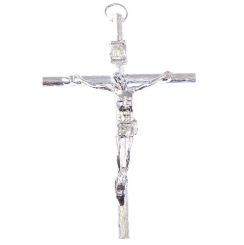 Catholic very large silver crucifix rosary cross pendant 9cm