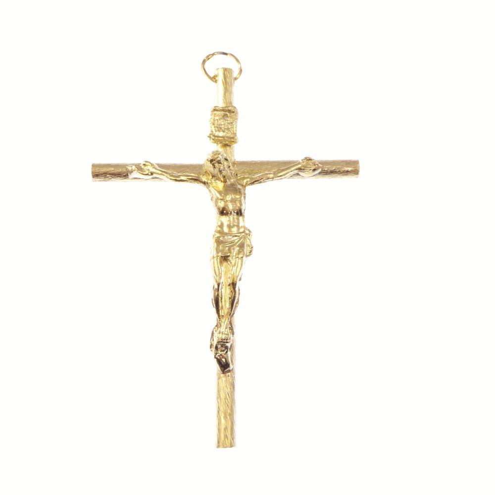Catholic very large gold crucifix rosary cross pendant 9cm