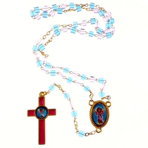Pink and blue glass Divine Child rosary beads