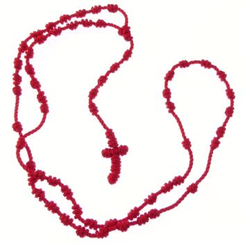 Red knotted cord rosary beads necklace
