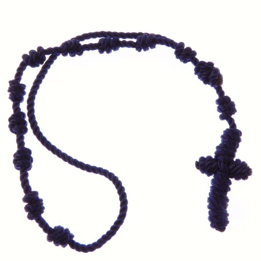 Dark blue knotted cord rosary beads bracelet - adjustable