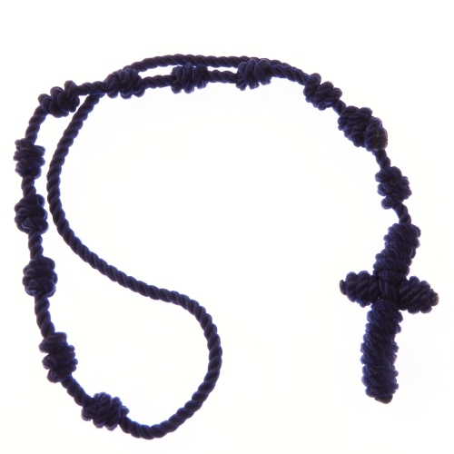 Dark blue knotted cord rosary beads bracelet - adjustable