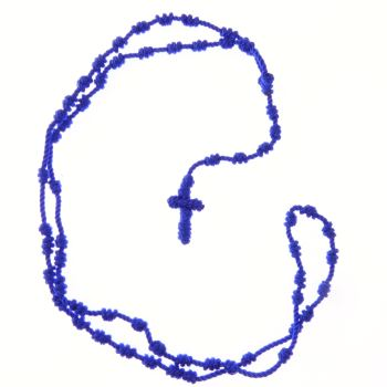 Blue knotted cord rosary beads necklace
