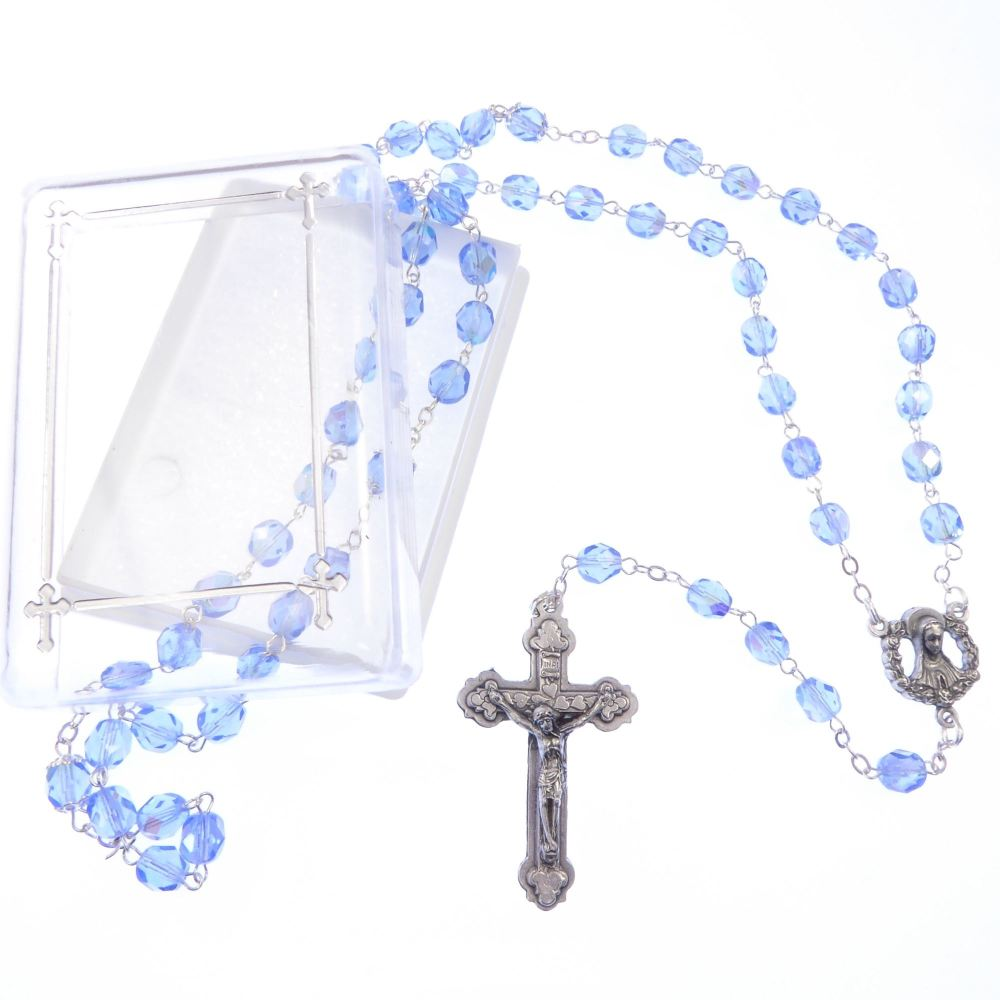 Blue sapphire colour glass extra strong iridescent rosary beads