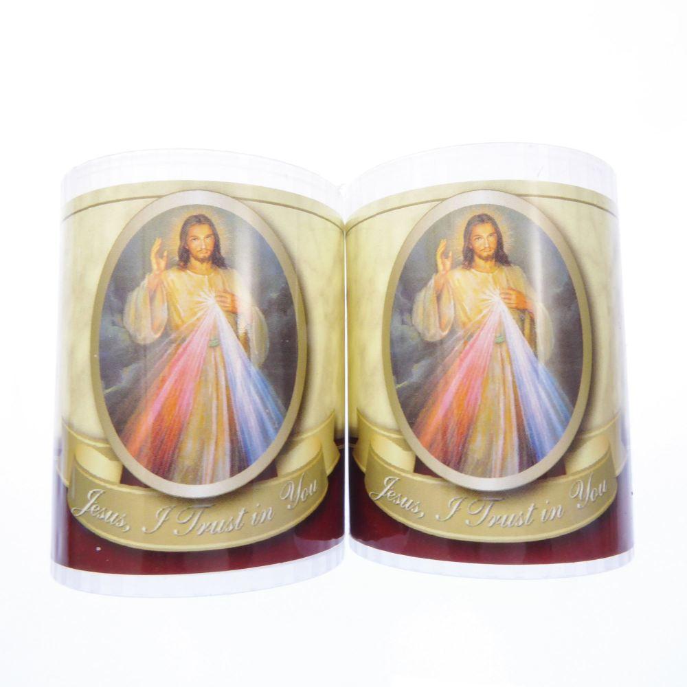 Divine Mercy votive candle 24 hour burn 2.5 inch x 2