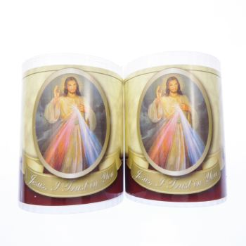 Divine Mercy votive candle 24 hour burn 2.5 inch x 2