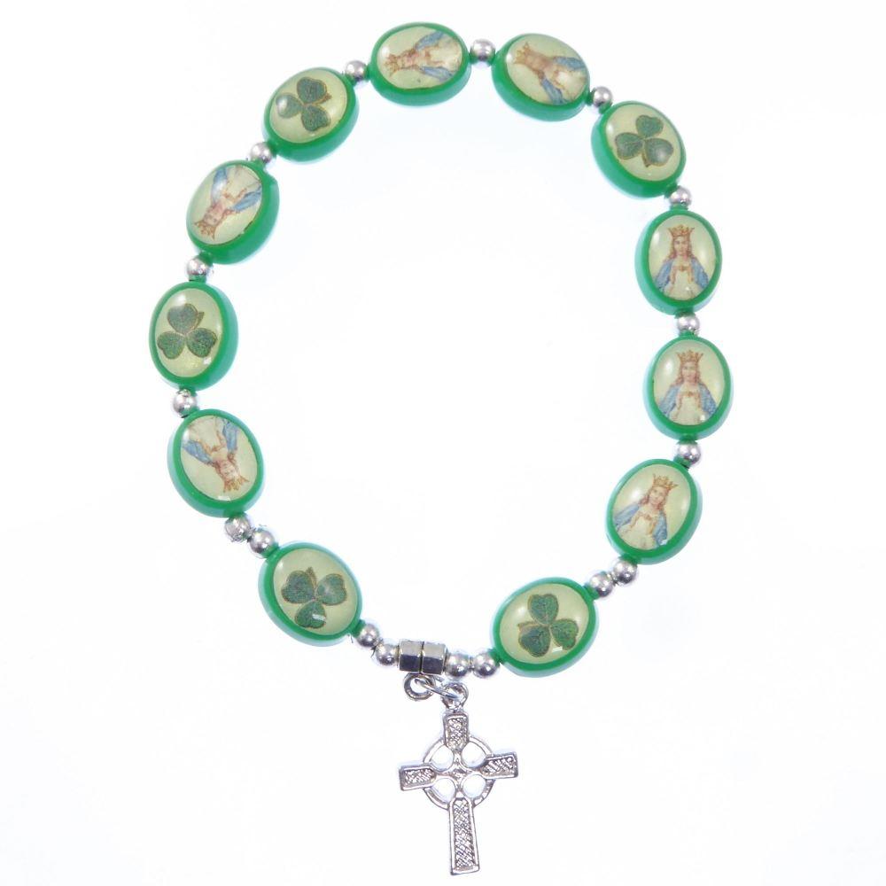 Green shamrock bracelet celtic cross