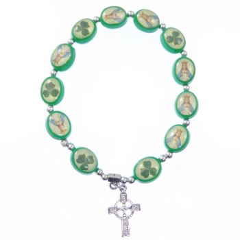 Green shamrock bracelet celtic cross