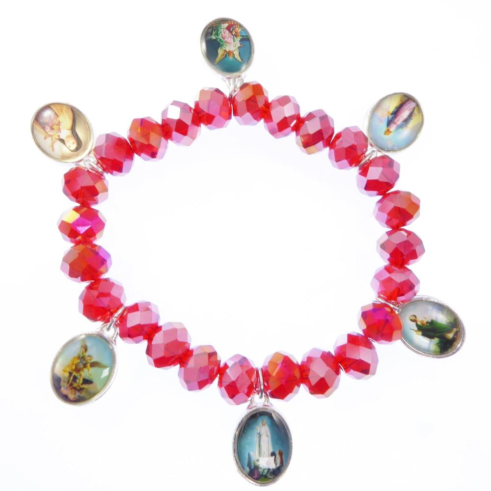 Saints medals religious red glass stretch bracelet