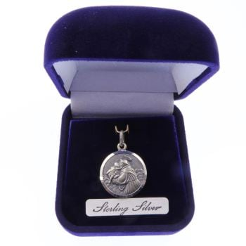 Sterling silver St. Anthony gift boxed medal 20mm