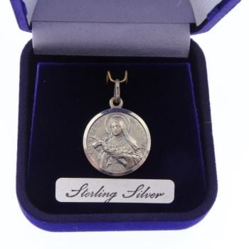 Sterling silver St. Teresa medal in velvet gift boxed 20mm