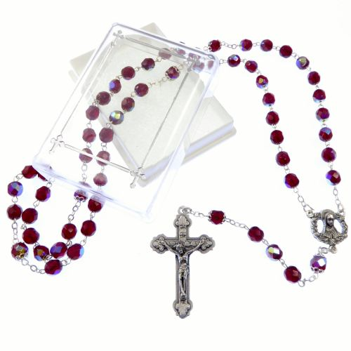 Red garnet colour glass extra strong iridescent rosary beads