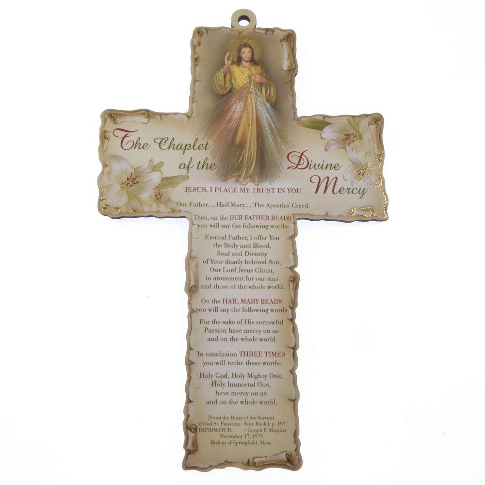 Chaplet Divine Mercy 15cm wood cross hanging