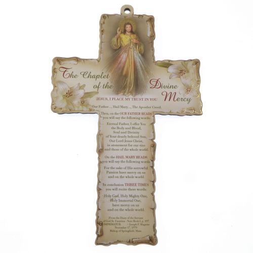 Chaplet Divine Mercy 15cm wood cross hanging