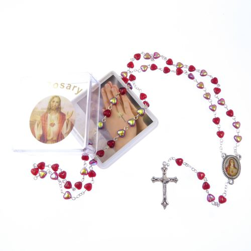 Red glass heart Sacred Heart Jesus rosary beads