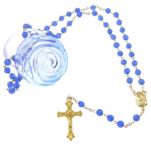 Rose flower box Our Lady of Lourdes blue rosary beads gold chain