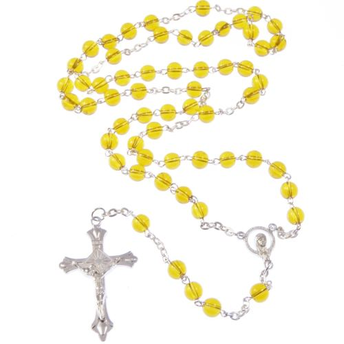 Yellow Catholic rosary beads necklace - silver tone metal