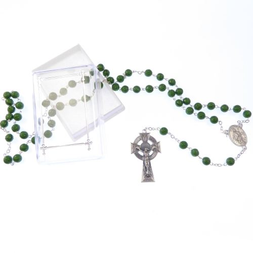 Irish green rosary beads with shamrock imprint and celtic cross