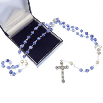 Gift boxed blue marble effect and pearl rosary beads