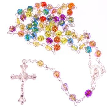 Christian rainbow flower multi-coloured rosary beads