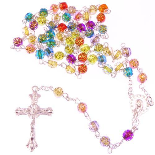Christian rainbow flower multi-coloured rosary beads