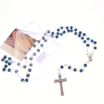 Blue glass marble effect capped rosary beads in box Catholic INRI crucifix