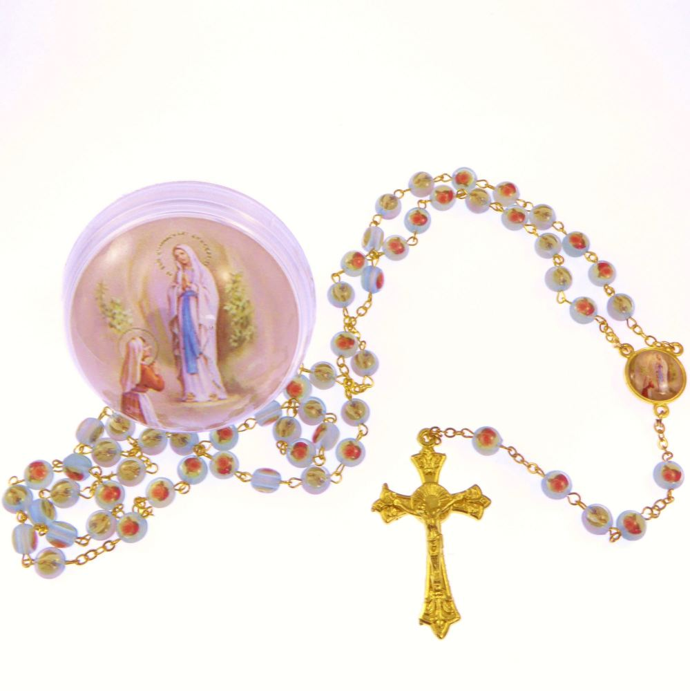 Blue rose flower Our Lady of Lourdes rosary beads in box