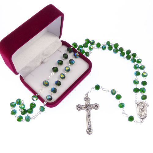 Long emerald green iridescent glass rosary beads our lady center Catholic i