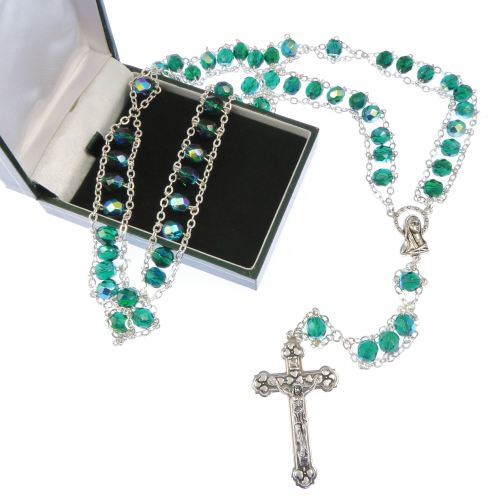 Gift boxed green strong ladder rosary beads