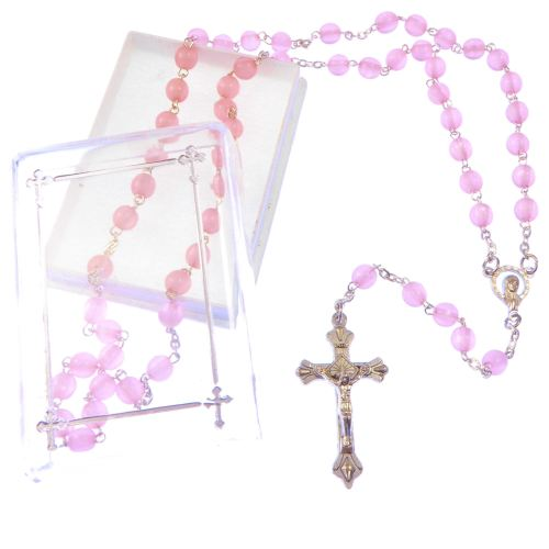 Pink pearl gift boxed rosary beads with silver crucifix