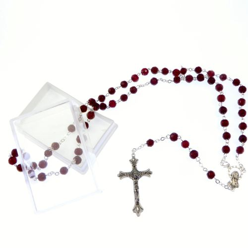 Glass faceted birthstone rosary beads January red garnet colour