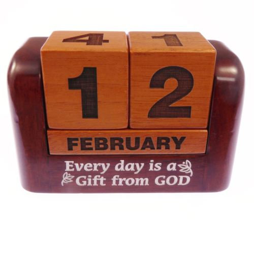 Christian desktop gift solid wooden calendar - Every day is a gift