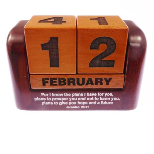 Jeremiah christian mahogany wood carved calendar