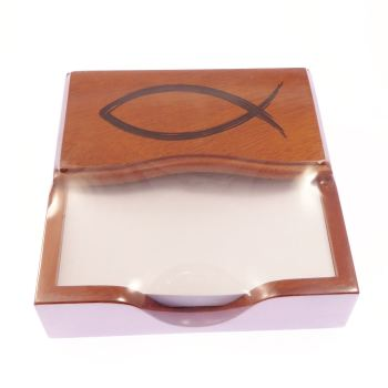 Ichthus christian fisk note pad open fish wood gift