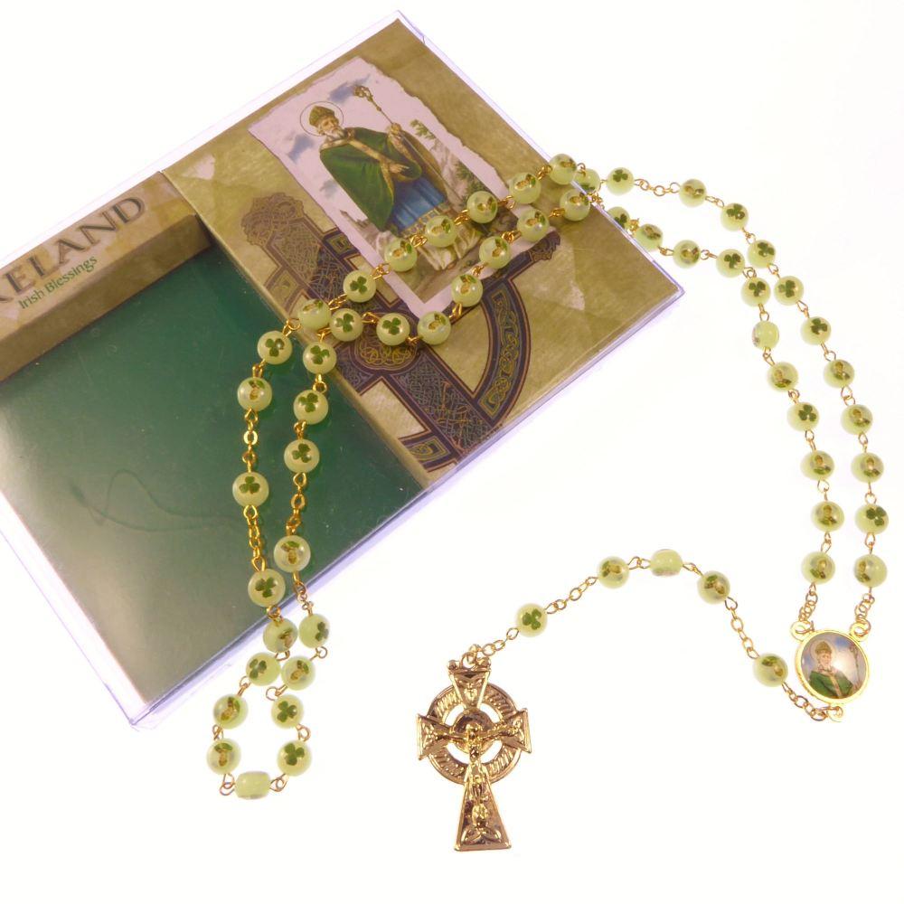 Luminous St. Patrick Irish glow in the dark shamrock clover rosary beads go