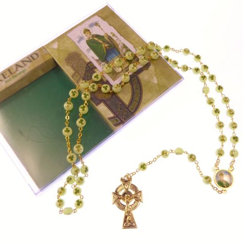 Luminous St. Patrick Irish glow in the dark shamrock clover rosary beads go
