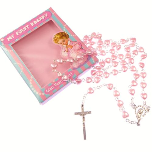 My 1st rosary childs girl pink resin heart small rosary beads fab Communion